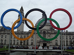 Olympic rings in Cardiff